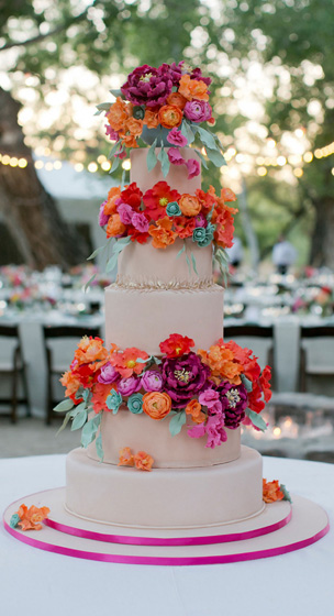 orange sugar flower wedding cake