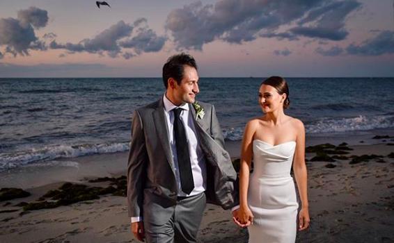 Galley beach wedding at night