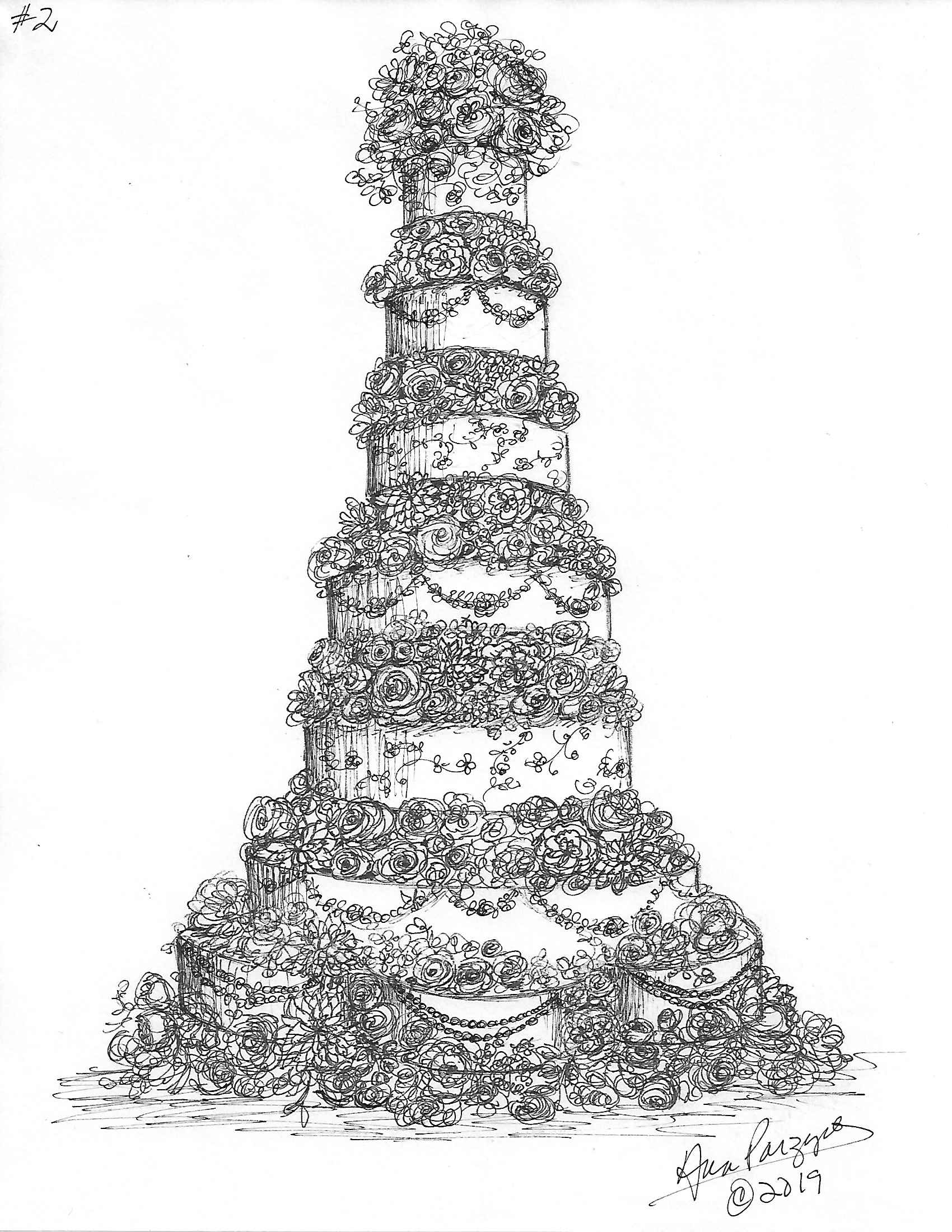 Tall wedding cake sketch
