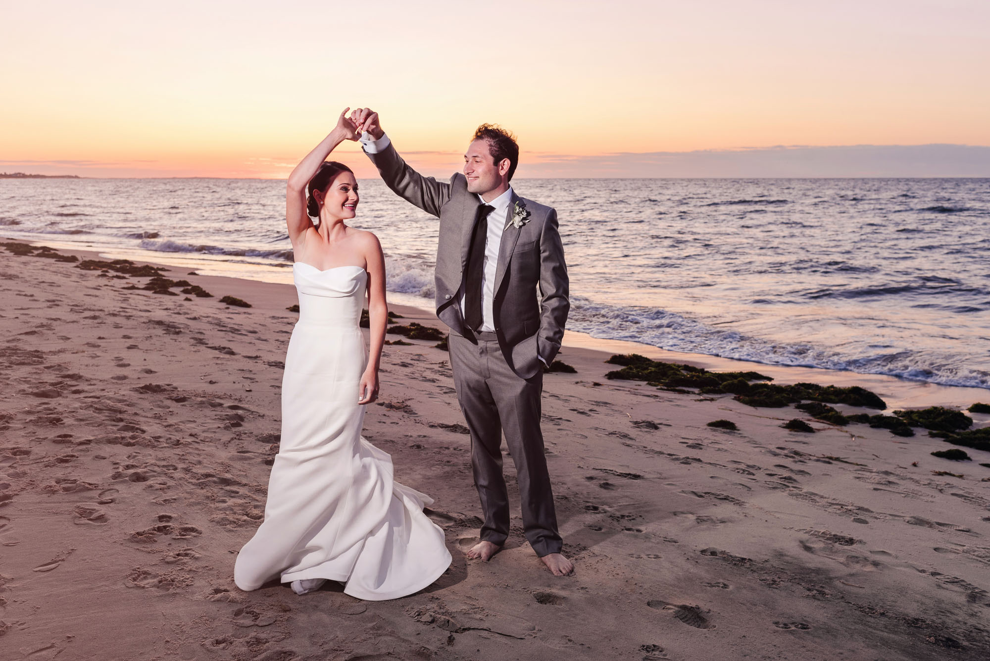 Galley Beach wedding at sunset
