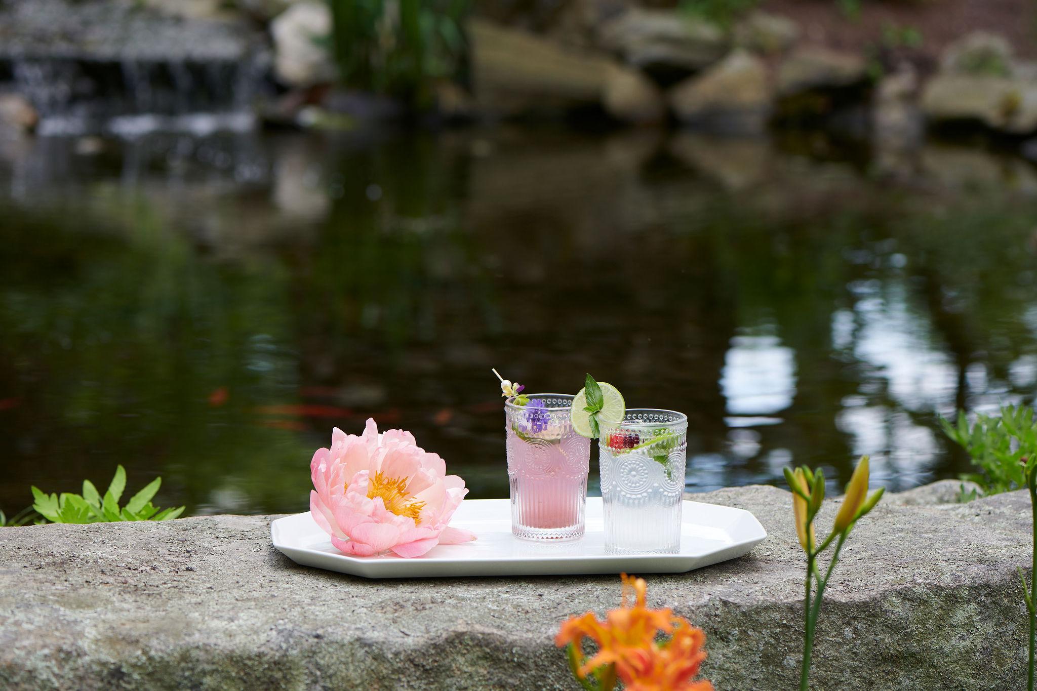 Outdoor wedding cocktails
